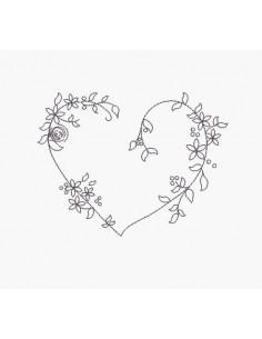 Motif de broderie machine coeur fleuri