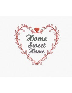 Motif de broderie machine coeur home sweet home
