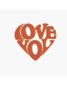Motif de broderie machine coeur LOVE YOU