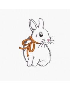 Motif de broderie machine petit lapin avec un noeud