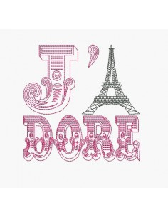 Motif de broderie machine J' adore Paris