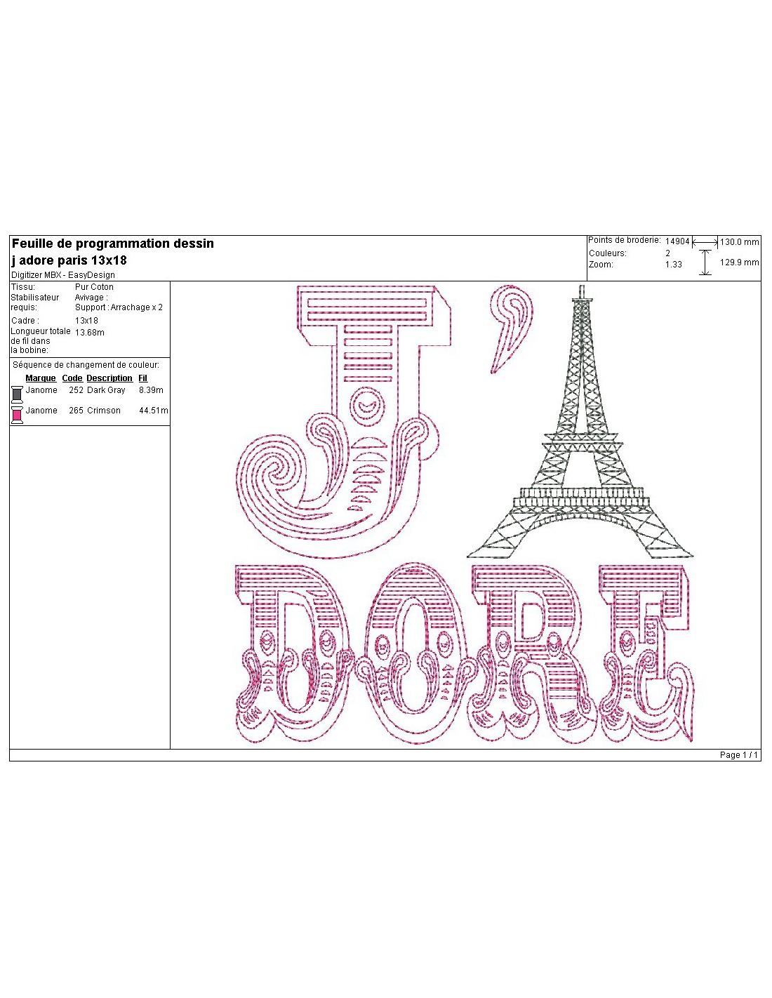 Instant Download Machine Embroidery Design I Love Paris Eiffel Tower
