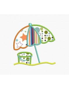 Motif de broderie machine parasol de plage