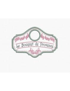 Motif de broderie machine étiquette bouquet de Provence