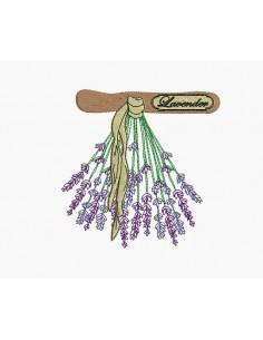 Motif de broderie machine bouquet de lavande séchée