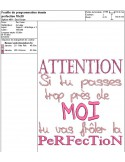 Motif de broderie machine texte humour perfection