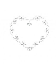 Motif de broderie machine coeur feston