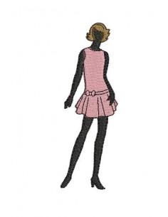 Motif de broderie machine silhouette femme robe rose