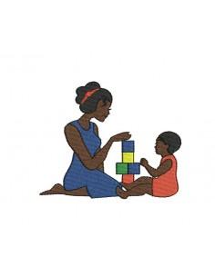 Motif de broderie machine maman et enfant