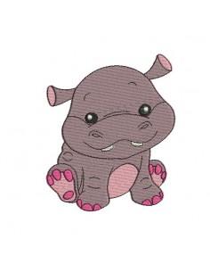 Motif de broderie machine hippopotame