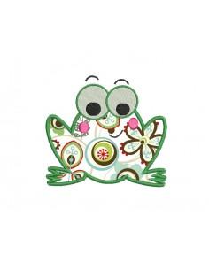 Motif de broderie machine grenouille appliquée