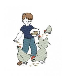 Motif de broderie machine garçon et ses poules