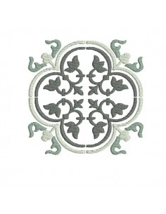 Motif de broderie machine carreau de ciment baroque