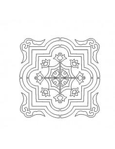 Motif de broderie machine carreau de ciment arabesque en redwork