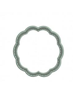 Motif de broderie machine cadre volute perlé