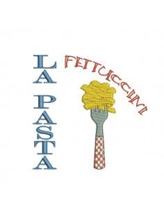 Motif de broderie machine pâtes Italienne Fettuccini
