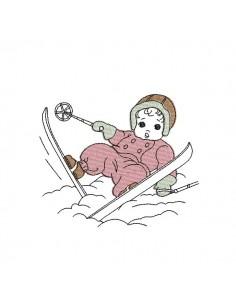 Motif de broderie machine enfant faisant du ski