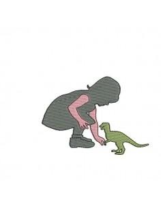Motif de broderie machine fille avec son dinosaure