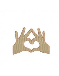 Motif de broderie machine mains forme coeur