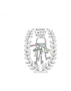 Motif de broderie machine trousseau de clés Home sweet home