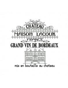 Motif de broderie machine vignoble chateaux Bordeaux