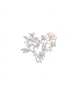 Motif de broderie machine coeur roses