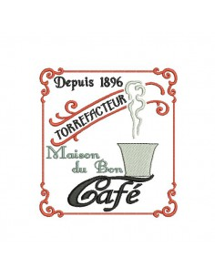Motif de broderie machine maison du bon café