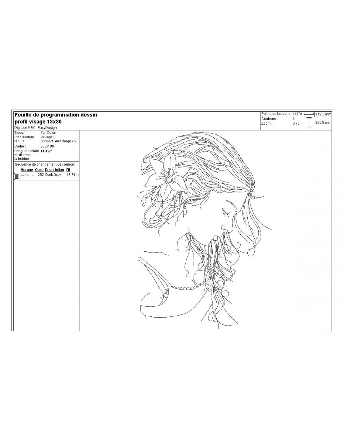 Motif De Broderie Machine Profil Visage Femme Alice Broderie