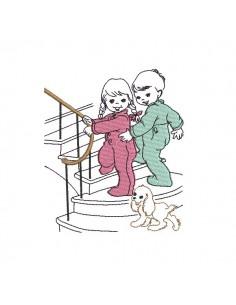 Motif de broderie machine enfant vintage allant au lit
