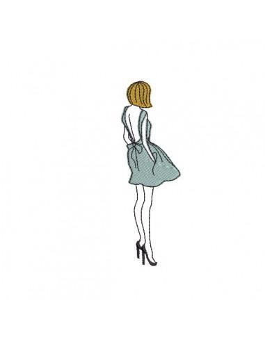 Motif De Broderie Machine Silhouette Femme Robe Dos Nu Alice Broderie