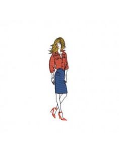 Motif de broderie machine silhouette femme en jupe