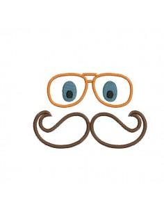 Motif de broderie machine lunette et moustache