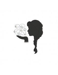 Motif de broderie machine camée profil femme aux étoiles