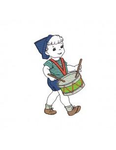 Motif de broderie machine garçon jouant du tambour