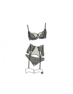 Instant download machine embroidery design applique lingerie set bra and panty