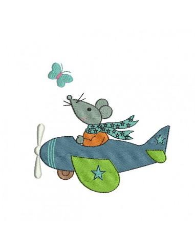 Motif de broderie machine souris dans avion