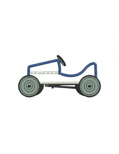 Motif de broderie machine voiture pédales en appliqué