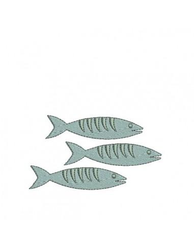 Motif de broderie machine  sardine