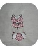 Motif de broderie machine  ensemble lingerie caraco