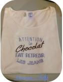 Motif de broderie  machine texte humour Chocolat