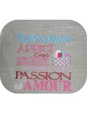 Motif de broderie machine texte fabrique addict