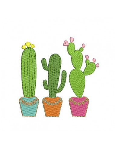Motif de broderie machine cactus