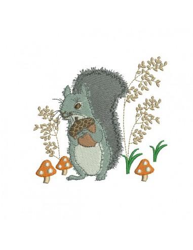 Motif de broderie machine ecureuil