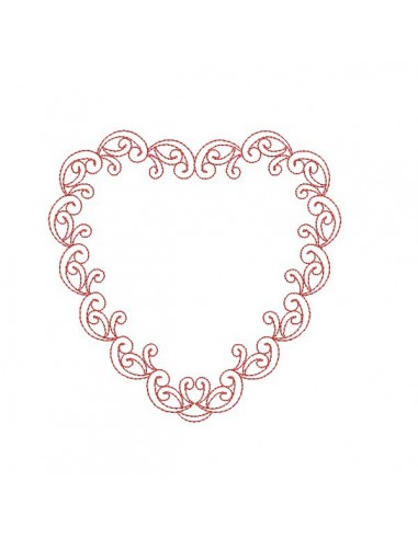 Motif de broderie machine coeur decor redwork