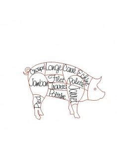 Motif de broderie machine cochon du boucher