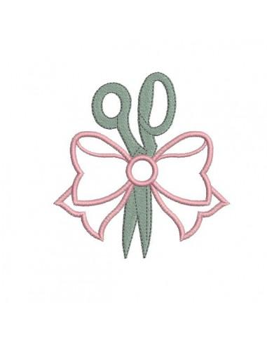 Motif de broderie machine ciseaux avec noeud en appliqué