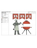 Motif de broderie machine Barbecue chef