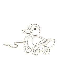 Motif de broderie machine  canard en redwork