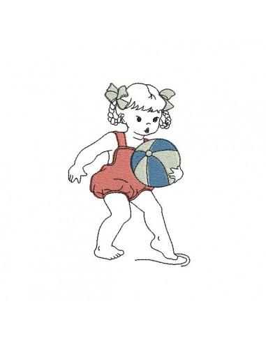 Motif de broderie machine petite fille à la plage