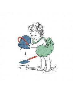 Motif de broderie machine petite fille à la plage avec son seau